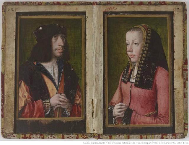 1492-95 Portraits presumes de Charles VIII et Anne de Bretagne BNF Lat 1190