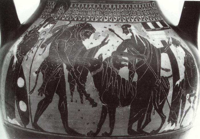 Athena_Hercules_Cerberus_Hades Leagros Group Painter, from Cervetri (c. 520 BCE)