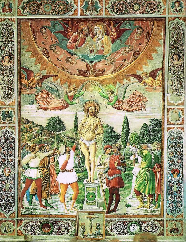 Benozzo Gozzoli Saint Sebastien 1464, fresque San Giminiano Duomo