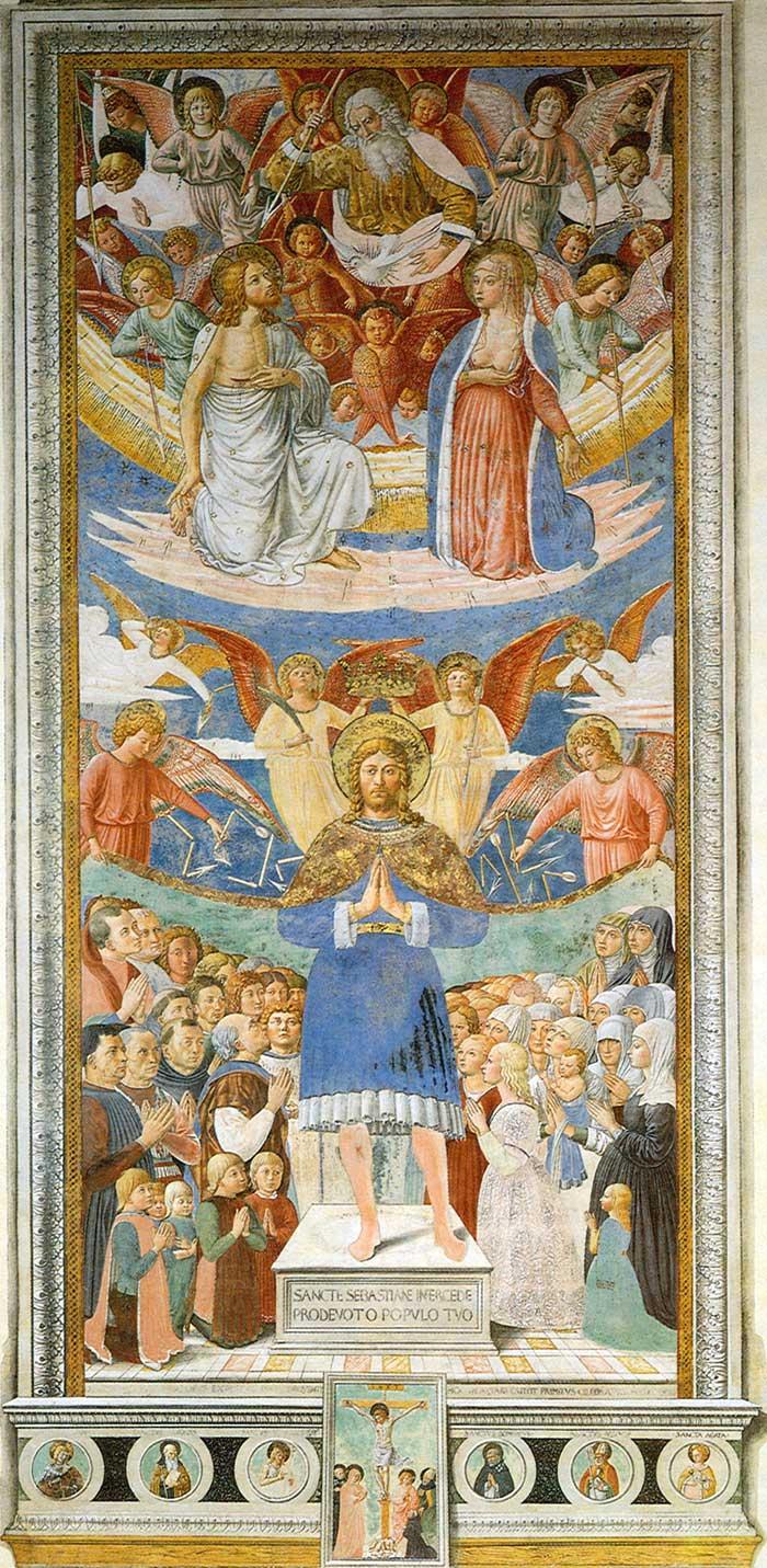 Benozzo Gozzoli, Saint Sebastien misericordieux, 1464, fresque,San Gimignano, Sant Agostino.