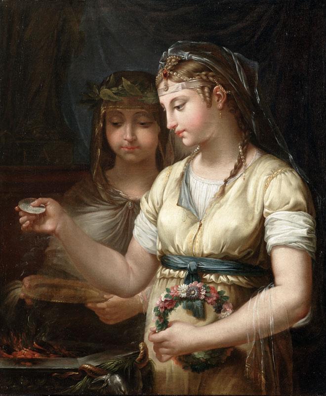 Callet 1770 Deux vestales preparant un sacrifice Musee des Augustins Toulouse