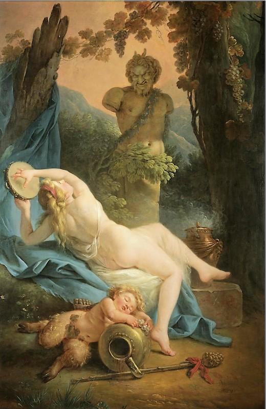 Jeune femme offrant une guirlande de fleurs à la statue de Cupidon