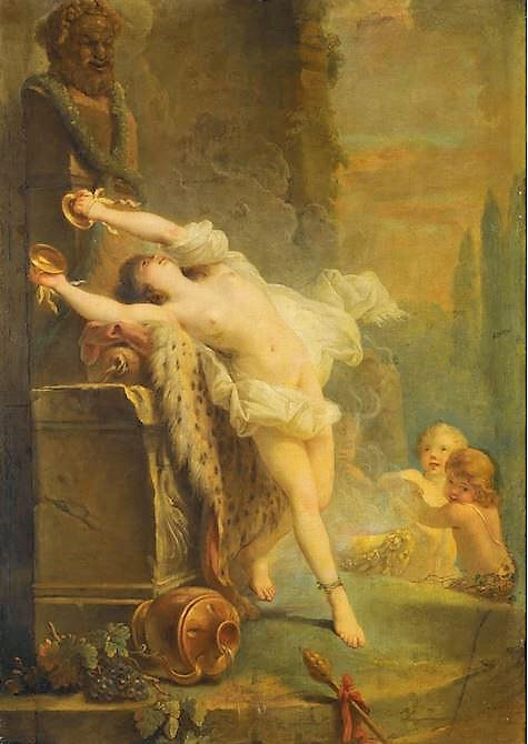 Callet vers 1780 collpart A BACCHANTE PLAYING THE CYMBOLS BEFORE A STATUE OF PAN ALLEGORY OF DEATH