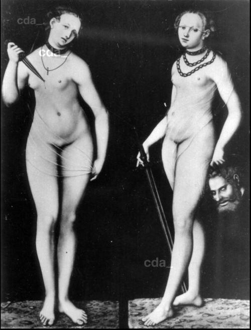 Cranach 1540 ca Lucrece et Judith detruit 1945 bombardement Dresde