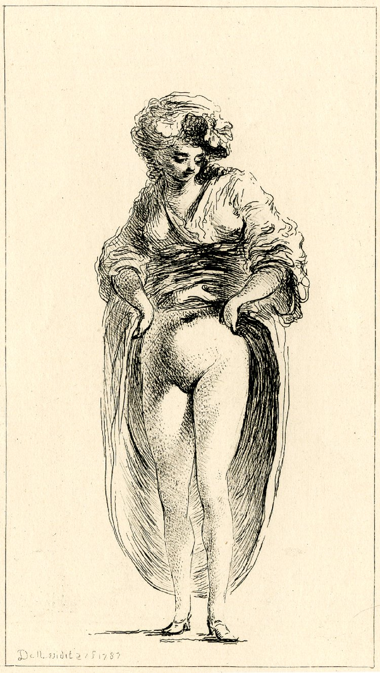Dominique Vivant Denon Neapolitan woman, standing, facing front, and lifting her skirt to reveal her nudity. 1787 British museum