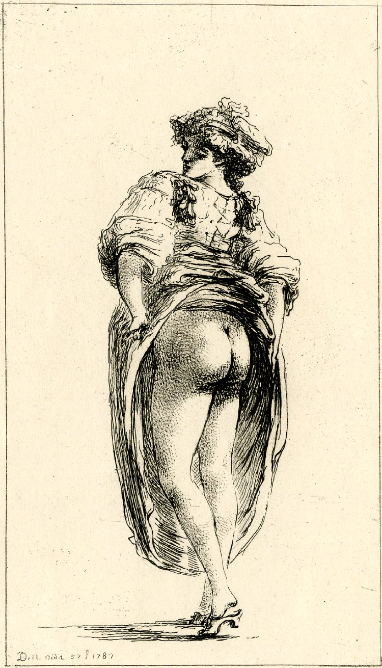 Dominique Vivant Denon Neapolitan woman, standing, from behind, and lifting her skirt to reveal her nudity. 1787 British museum