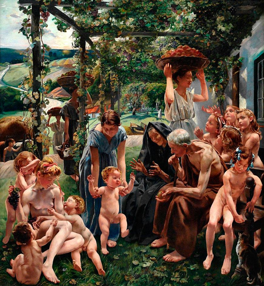 FREDERIC Leon Triptyque de l'Age d'Or le Soir , Musee d'Orsay Paris