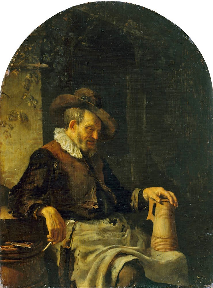 Frans_van_Mieris_(I)_1650-55Old Man with a Tankard on his Knee Gemaldegalerie Alte Meister dresde