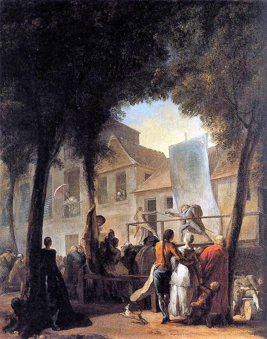Gabriel de Saint Aubin La parade du boulevard c1760 National Gallery 80 x 64 cm
