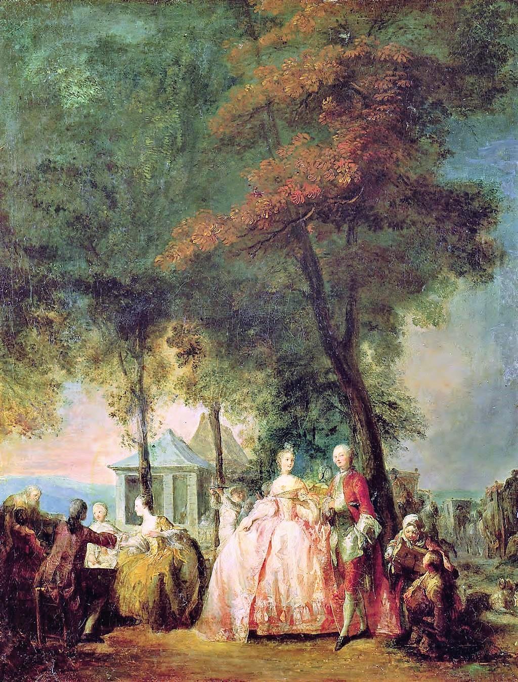Gabriel de Saint Aubin - Promenade de Longchamp c1760 Musee Rigaud Perpignan 80 x 64 cm