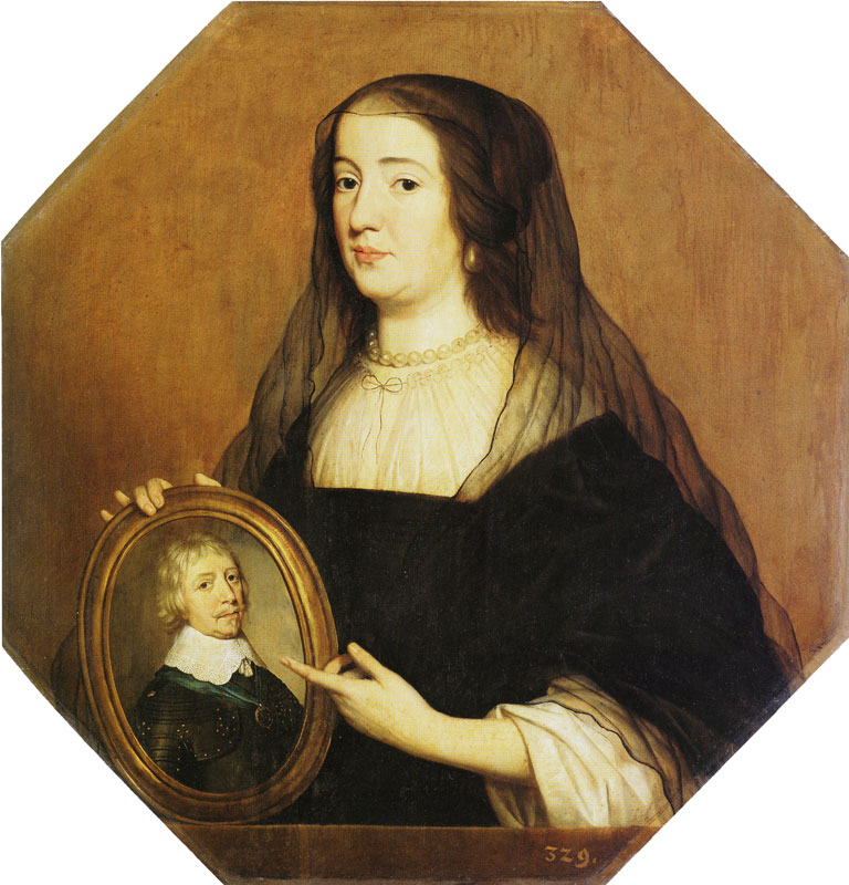 Gerard van Honthorst - Allegorical Portrait of Princess Amalia van Solms in Mourning Holding a Portrait of Frederik Hendrik Gemaldegalerie, Berlin 85 x 83 cm