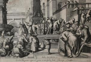Hondius 1597 d apres Karel Van Mander Judicium Christi La femme accusee d'adultere