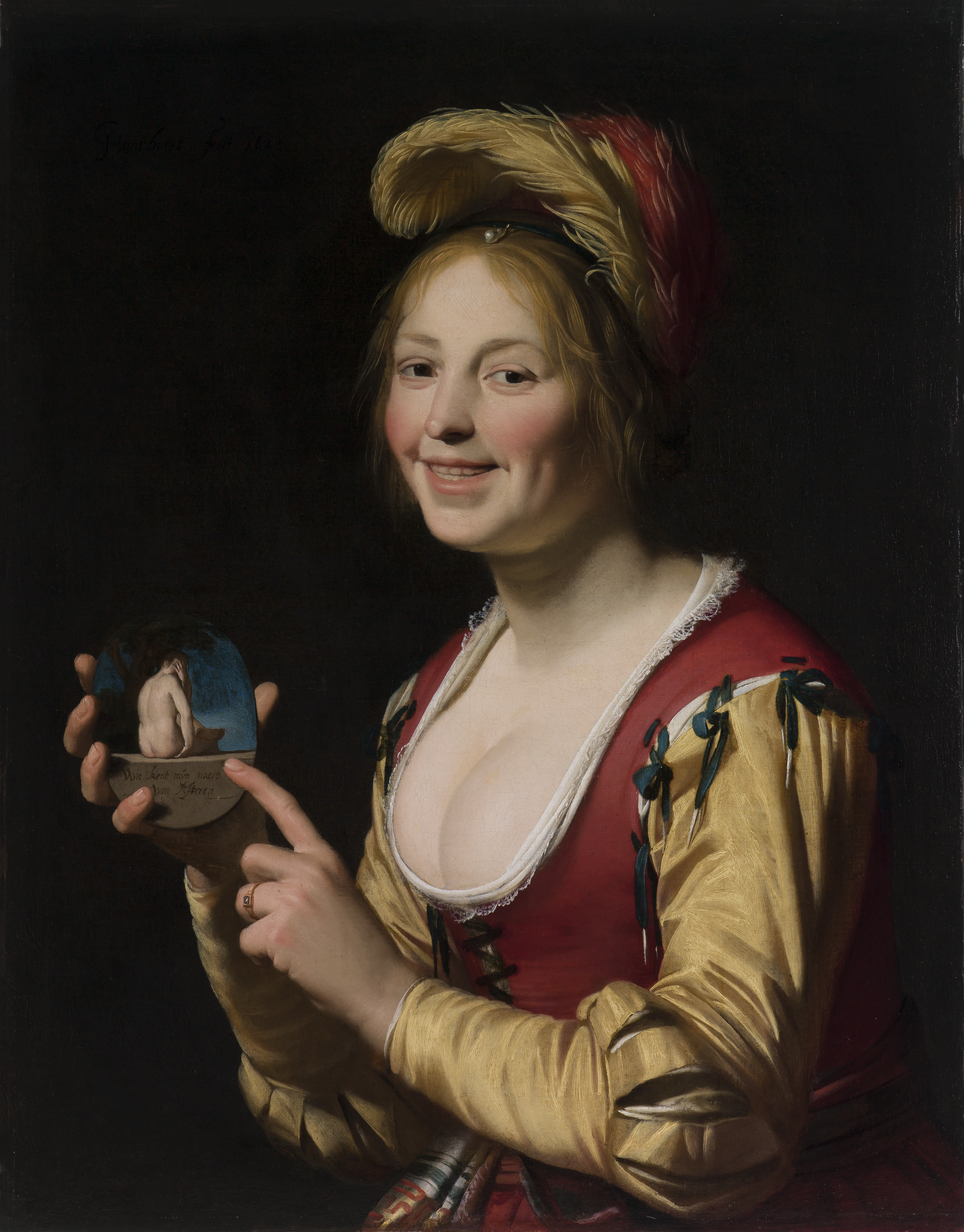 Honthorst 1625 Smiling Girl, a Courtesan, Holding an Obscene Image Saint Louis Art Museum