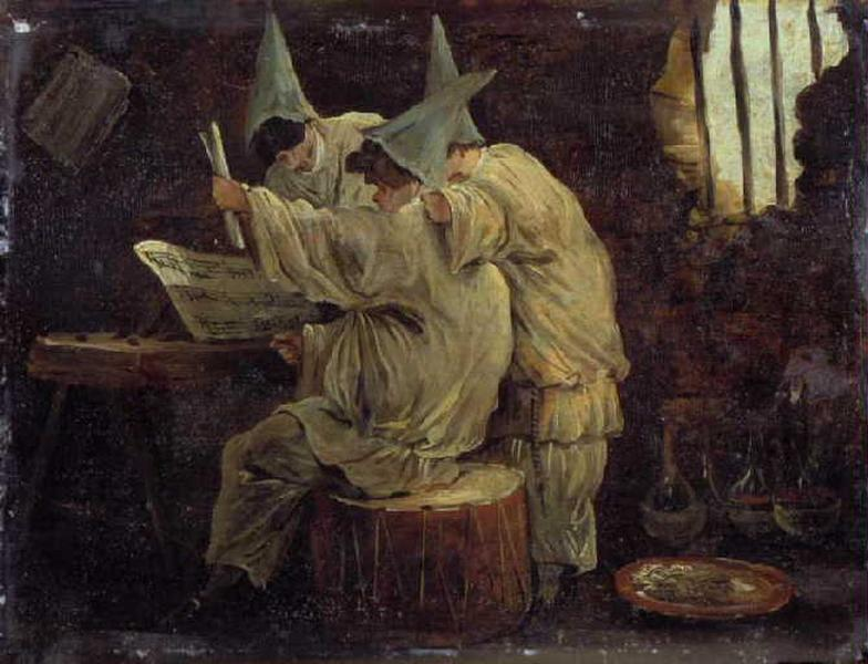 Hubert Robert 1760 Les Polichinelles chanteurs Musee de Picardie Amiens