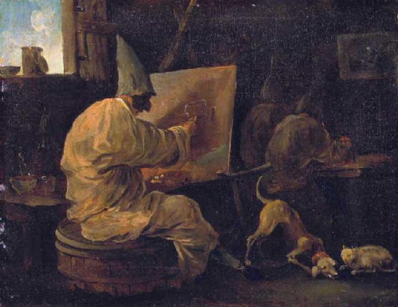 Hubert Robert 1760 Les Polichinelles peintres Musee de Picardie Amiens