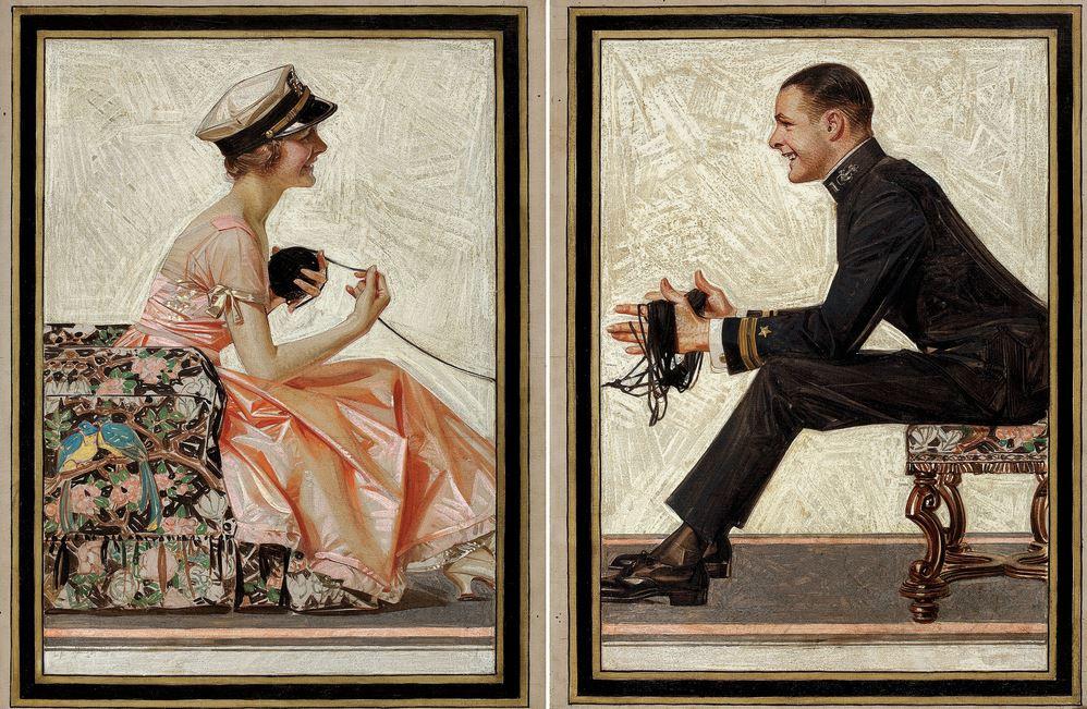 JOSEPH CHRISTIAN LEYENDECKER Kuppenheimer Style Book advertising diptych, Fall & Winter 1918-1919