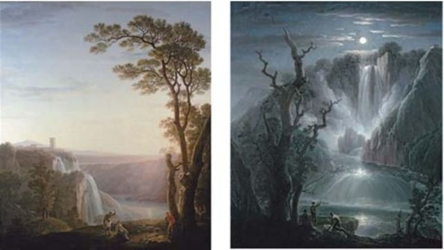 Jacob More 1788 The cascade of Tivoli at sunset, Marmore at moonlight with figures in the foreground