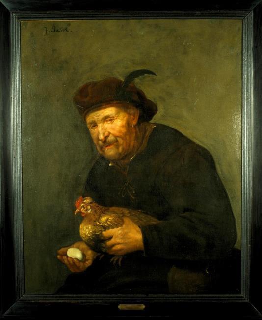 Johannes Baeck 1654 Vieil homme avec une poule Centraal Museum, Utrecht