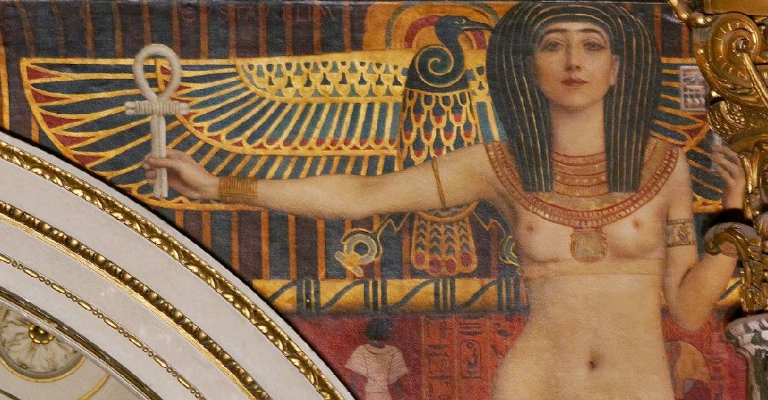 Klimt L'Art Grec (Tanagra et Pallas Athene) 1890 Escalier du Kunsthistorisches Museum detail isis