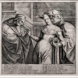 La_femme_entre_les_deux_ages 1579 gravure Pieter Perret