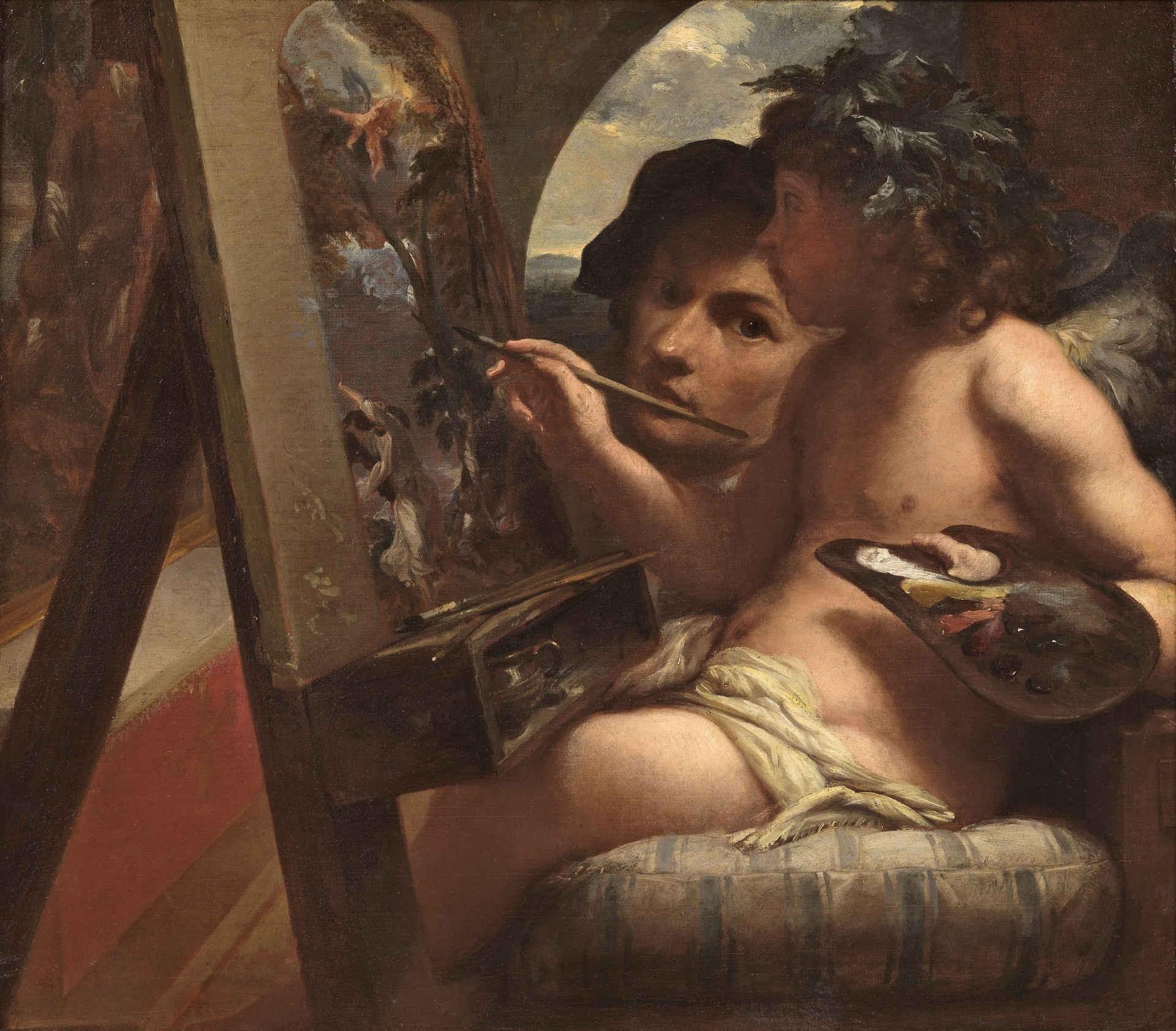 Livio Mehus Le genie de la peinture vers 1650 Prado Madrid