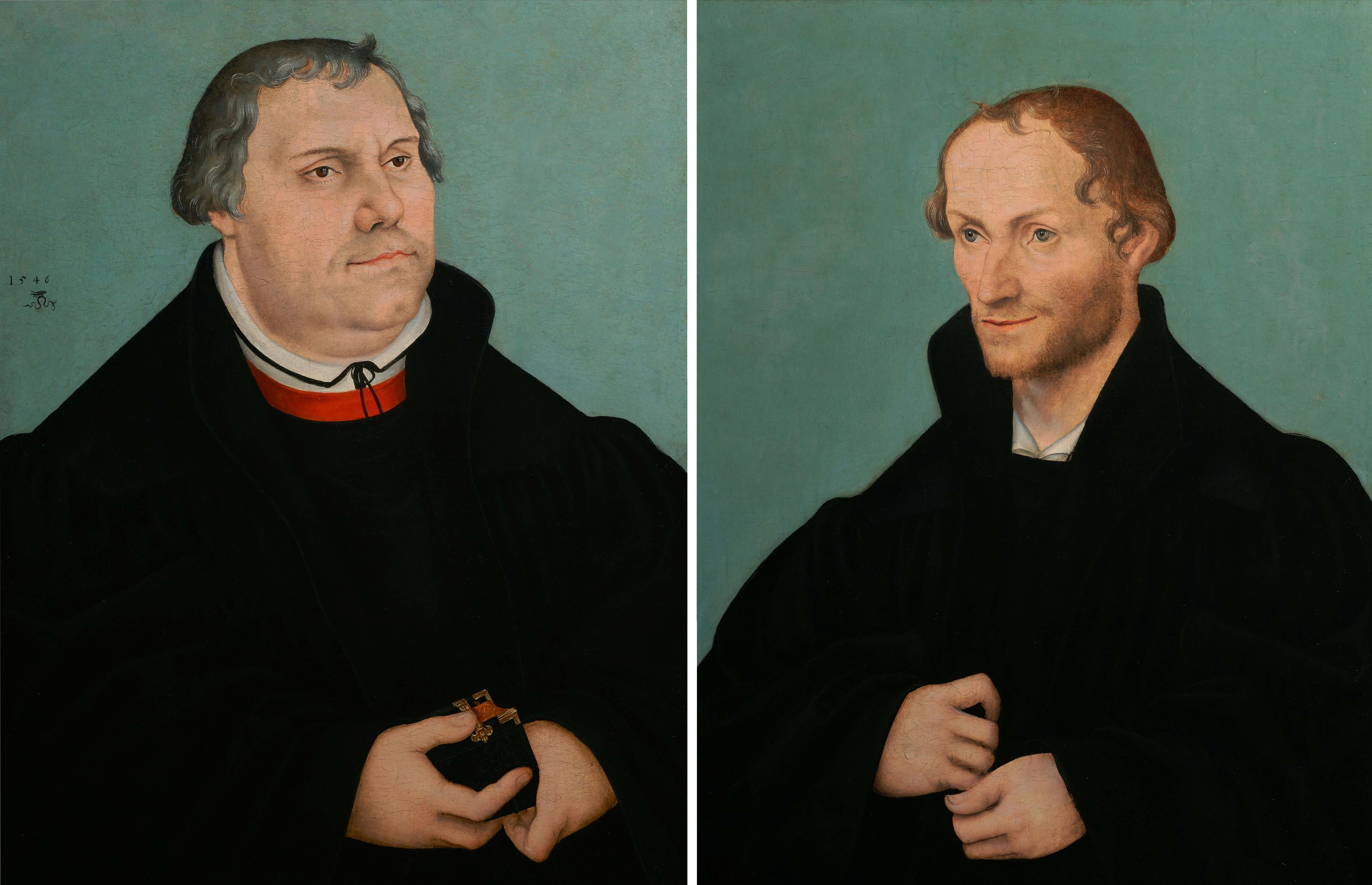 Lucas Cranach le jeune 1546 Martin_Luther_Philippe_Melanchthon