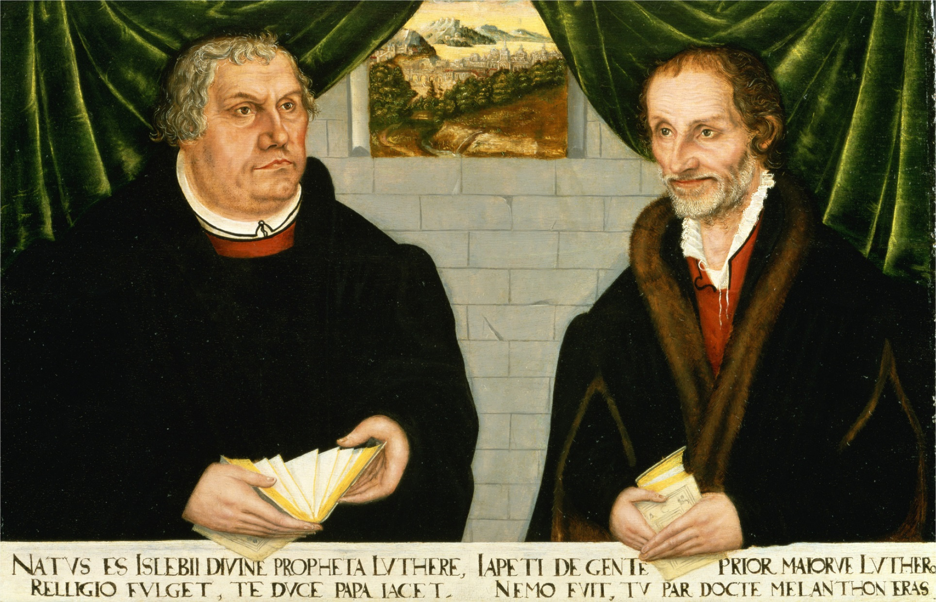 Double Portrait of Martin Luther (1483-1546) and Philip Melanchthon (1497-1560) (oil on panel)