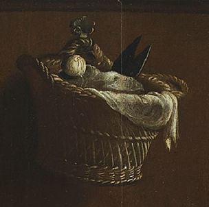 Maarten van Heemskerck, Portrait of a Spinning Woman, c. 1530.Madrid, Museo Thyssen-Bornemisza detail panier