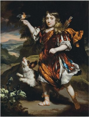 Maes 1671 Portrait of a boy as Daifilo in an orange cloak, with a bird coll priv