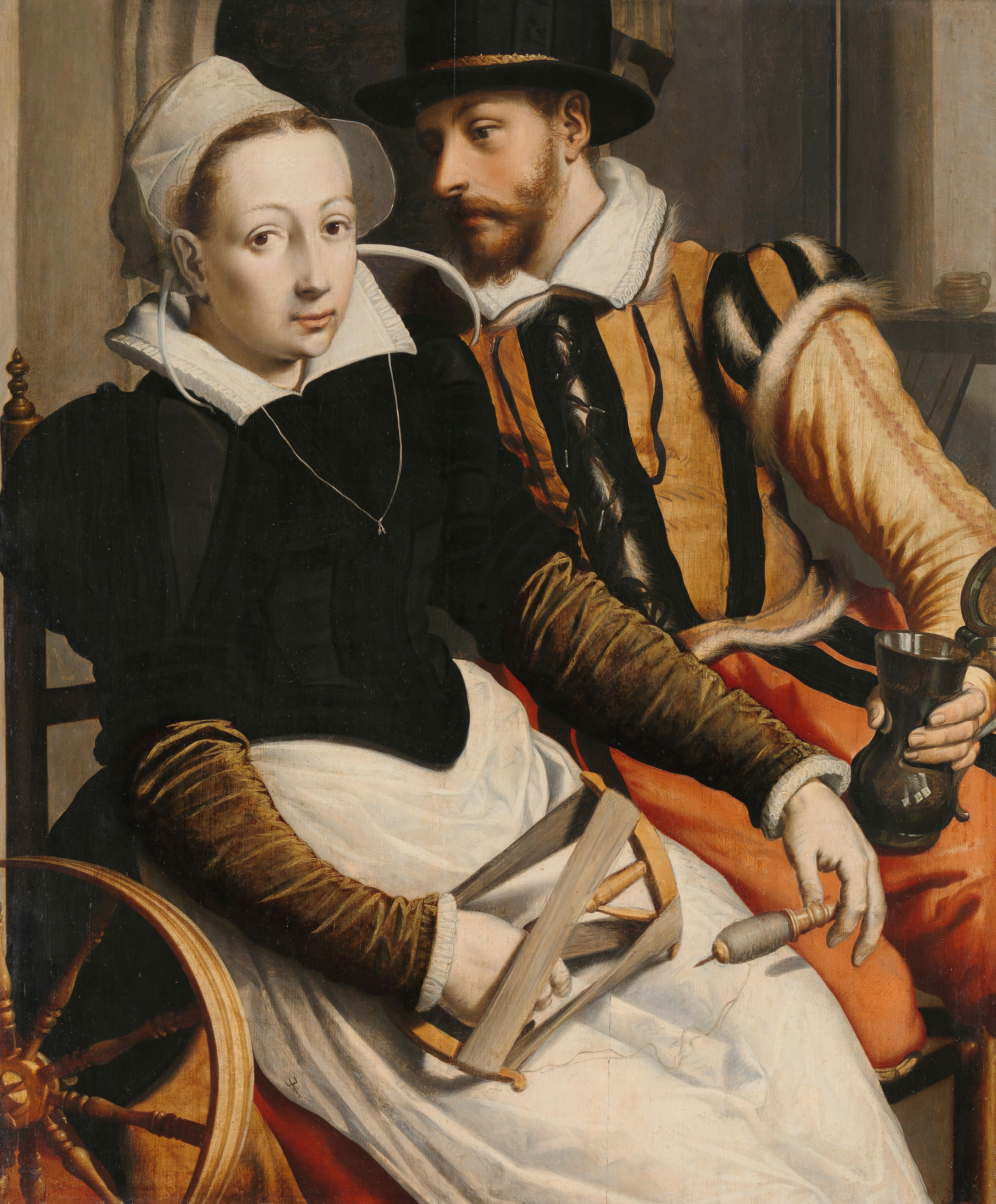 Man and Woman at a Spinning Wheel, Pieter Pietersz. (I), c. 1560 - c. 1570