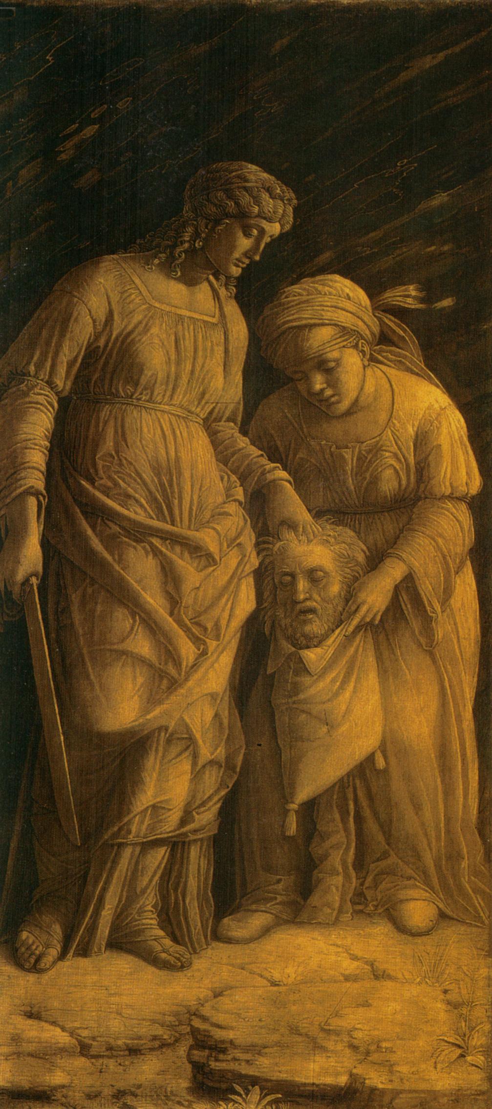 Mantegna 1495 ca Judith avec la tête d'Holopherne Musee des BA Montreal 65x 31 cm
