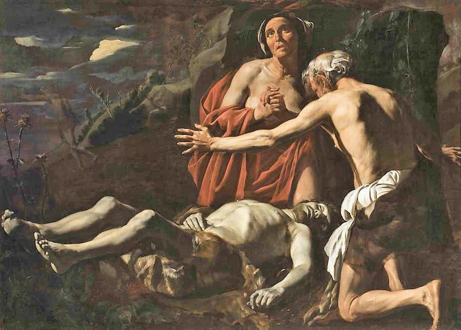 Mattias Stom 1630-50 The Adam et Eve pleurent la mort d'Abel Musee des BA La Valette