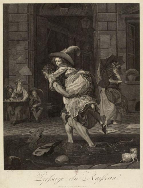 Michel Garnier 1799 le passage du ruisseau gravure Simon Petit