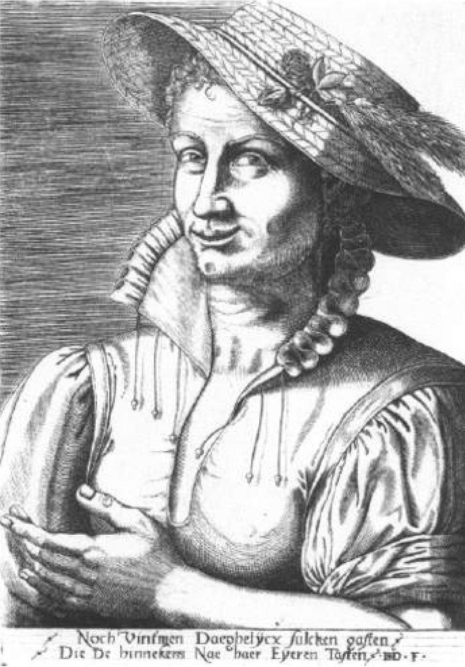 Monogrammist ISD Femme avec un chapeau de paille Amsterdam, Rijksprentenkabinet