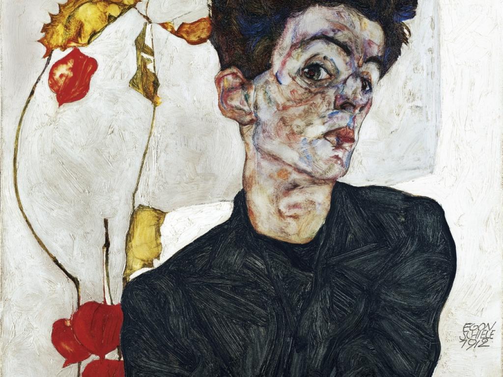 Schiele Autoportrait aux physalys 1912 Leopold Museum, Vienne.