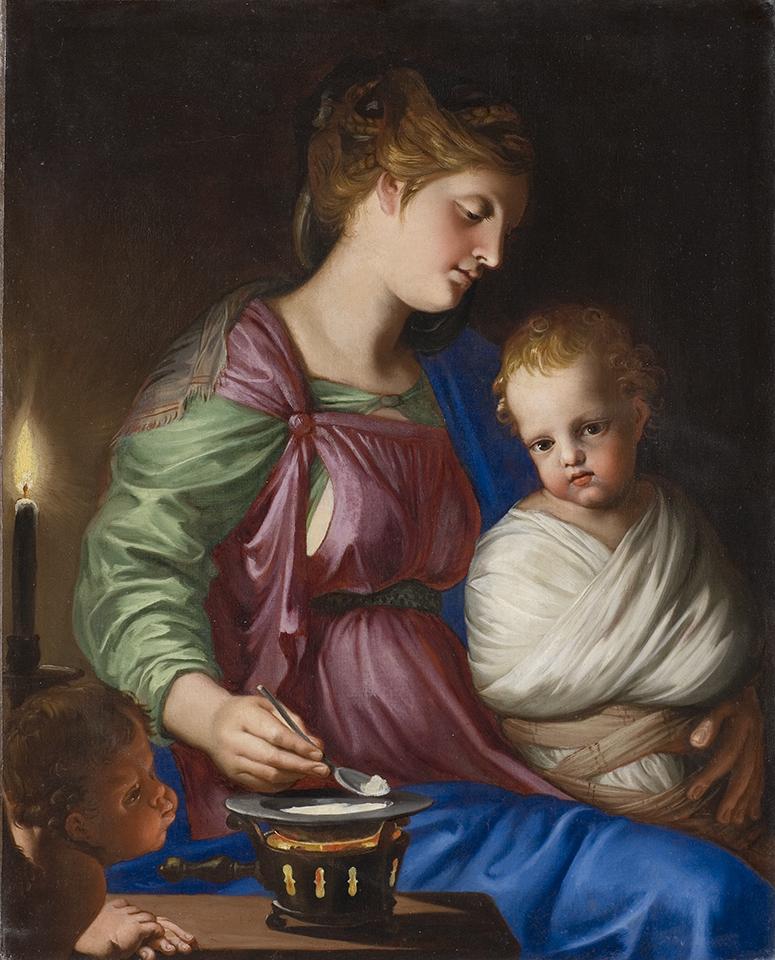 Stella 1650-55 La Vierge donnant de la bouillie a l'Enfant Jesus Chateau de Blois 66 x 52 cm