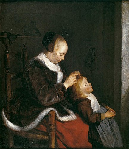 Ter_Borch 1652-53 A mother combing the hair of her child, known as Hunting for lice Mauritshuis
