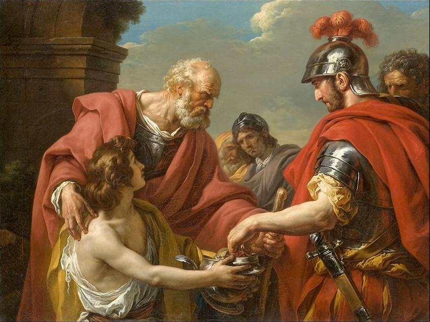 Vincent (Francois-Andre ) 1776 Balisaire, reduit a la mendicite, secouru par un officier des troupes de l empereur Justinien Musee Fabre,Montpellier