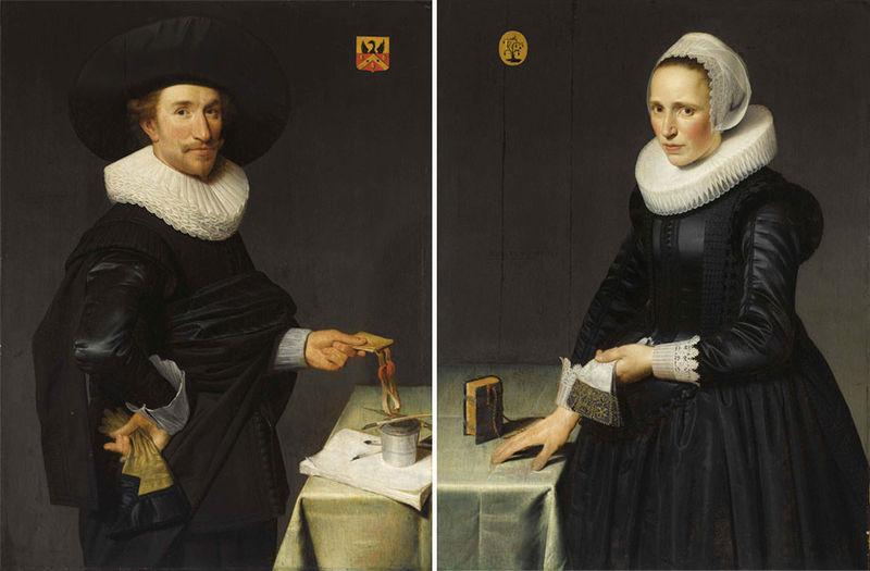 Willem Willemsz van der Vliet, A pair of portraits of Willem de Langue and Maria Pijnaeke