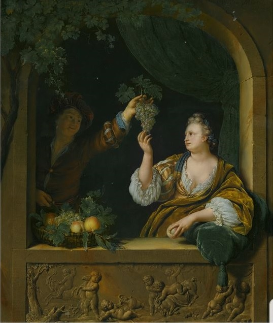 Willem van Mieris 1707 A GENTLEMAN OFFERING A LADY A BUNCH OF GRAPES coll part