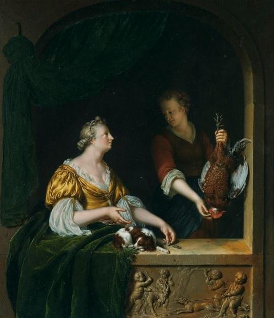Willem van Mieris 1707 A POULTRY SELLER coll part
