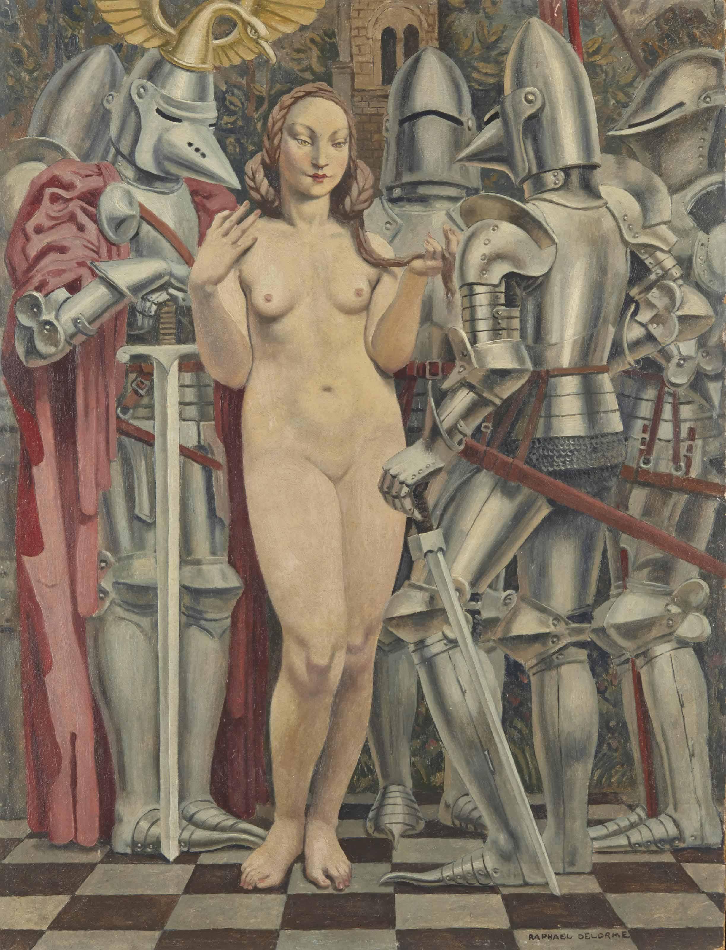 delorme-raphael-femme-aux-armures-ca 1945 coll part