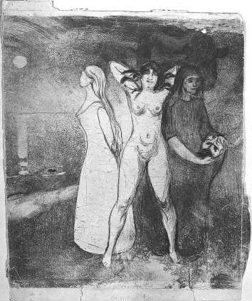 edvard-munch-women-I 1895 Aquatinte et pointe seche