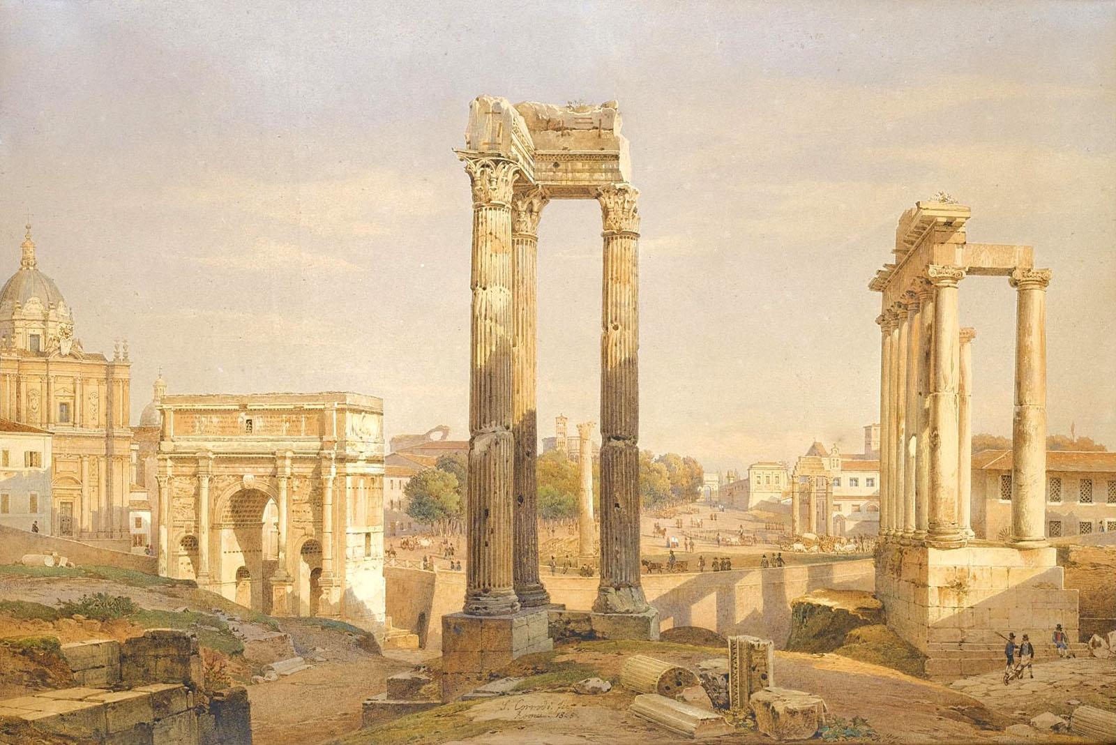 salomon corrodi - foro romano - roma - 1845