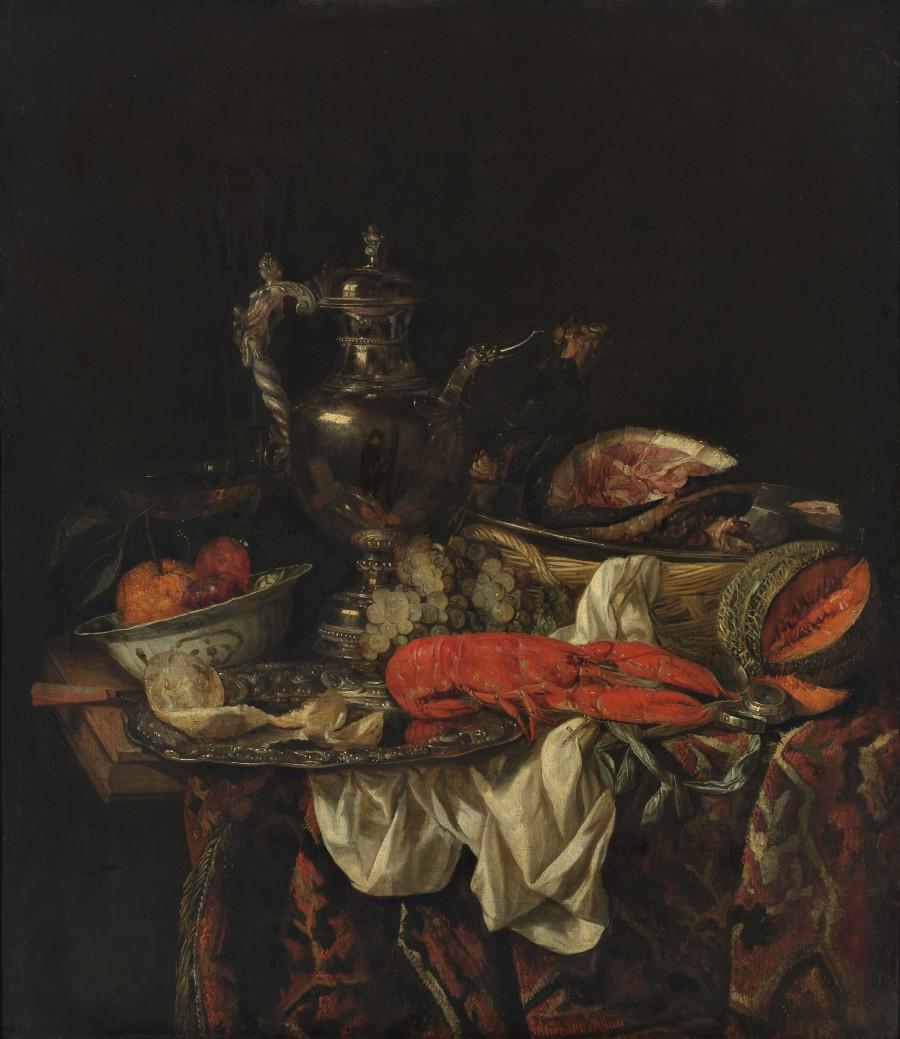 Abraham van Beijeren Still Life with a silver Wine-jar and a reflected Portrait Bojmans van Beuningen Rotterdam
