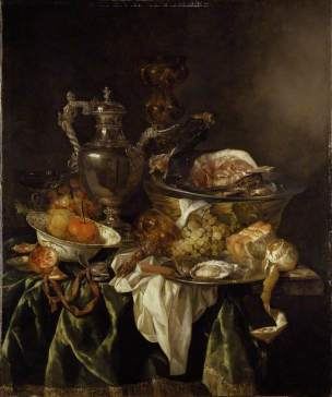 van Beyeren, Abraham, 1620/1621-1690; Still Life with a silver Wine-jar and a reflected Portrait of the Artist