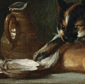 Chardin 1728 Still Life With Cat and RayFish Museo Thyssen-Bornemisza, Madrid detail centre