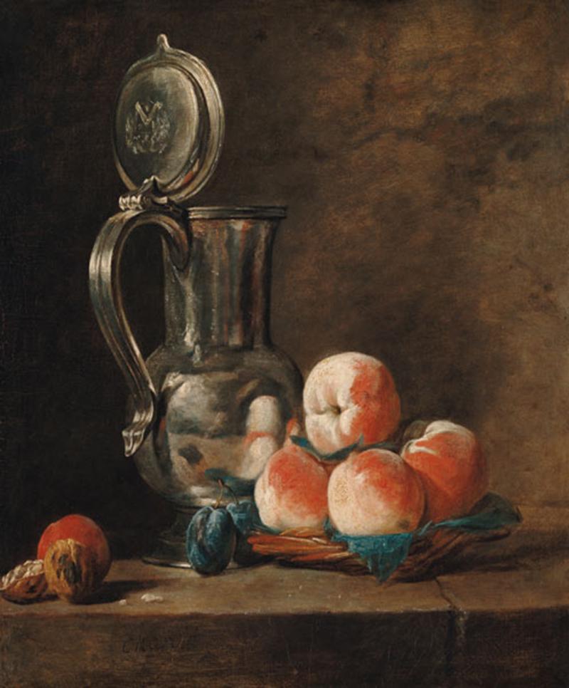 Chardin 1728 ca Pot d etain avec plateau de peches, prunes et noix Kunsthalle Karlsruhe