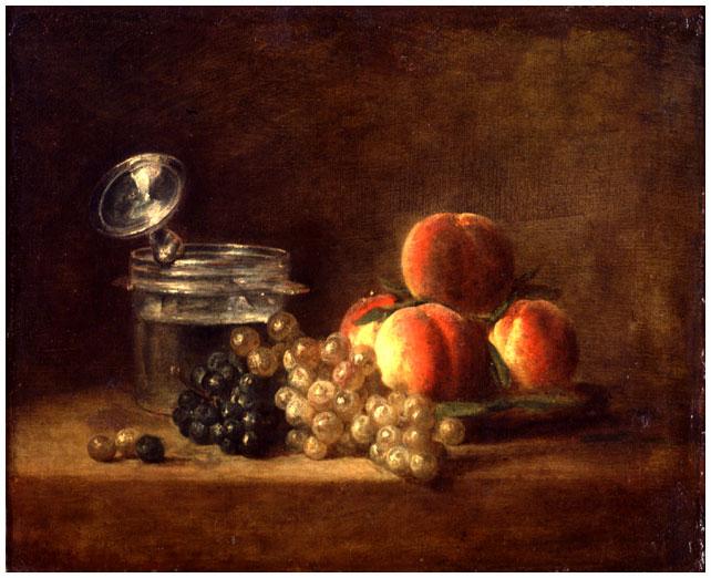Chardin 1759 Peches et raisins avec un rafraichissoir Musee des Beaux Arts, Rennes