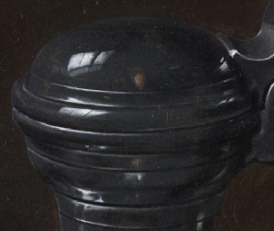 Clara Peeters 1611 A Bodegon con flores, copa de plata dorada, frutos secos, dulces, panecillos, vino y jarra de peltre, Prado reflet pot 1